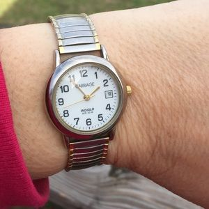 Timex Carriage Silver Gold indiglo Watch